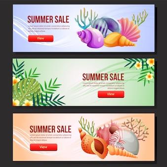 Modelo de banner de venda verão colorido conjunto ilustração em vetor concha do mar
