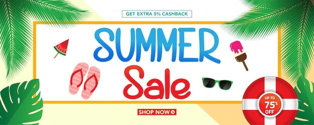 Modelo de banner de venda verão com fundo de folhas tropicais