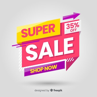 Modelo de banner de vendas colorido abstrato
