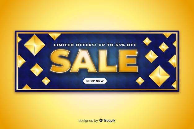 Modelo de banner de vendas com elementos dourados