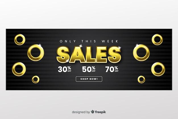 Modelo de banner de vendas com letras douradas
