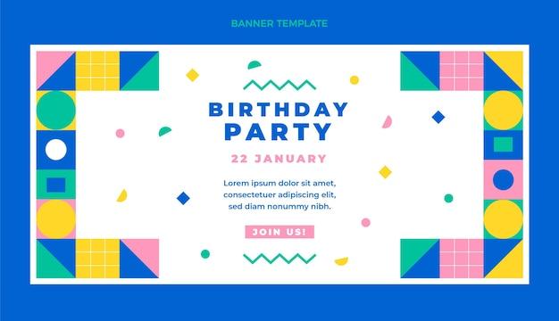 Modelo de banner de vendas de aniversário em mosaico de design plano