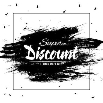 Modelo de banner de vendas de desconto super preto e branco
