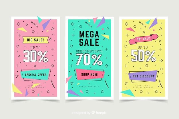 Modelo de banner de vendas de estilo de memphis