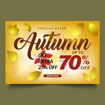 Modelo de banner de vendas de outono