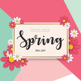 Modelo de banner de vendas de primavera floral em verde suave e rosa