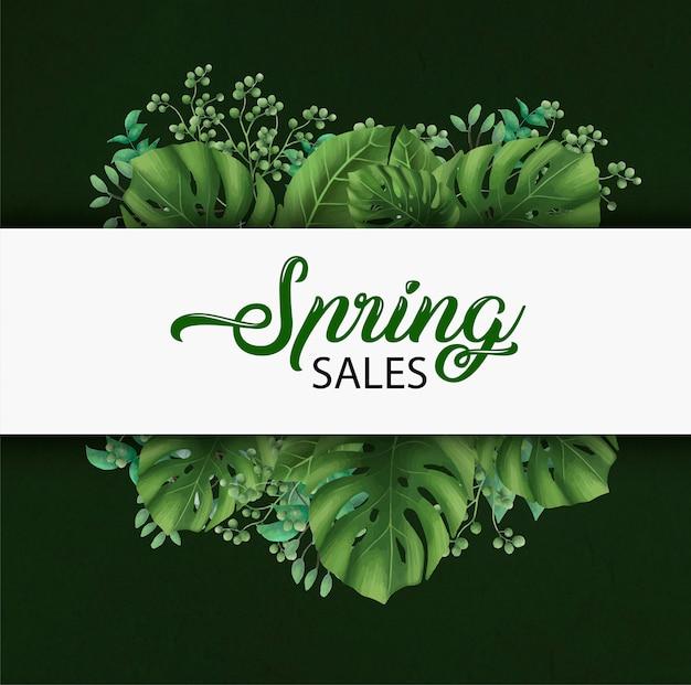 Modelo de banner de vendas de primavera
