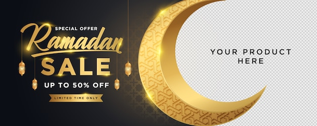 Modelo de banner de vendas de ramadan kareem