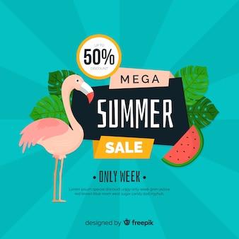Modelo de banner de vendas de verão plana
