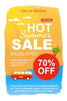 Modelo de banner de vendas de verão quente especial oferta para o fim da temporada. flyer promocional propondo 70% de desconto em excursões de ônibus