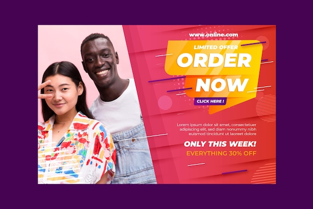 Modelo de banner de vendas e compras online