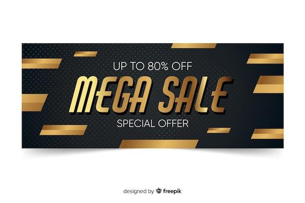 Modelo de banner de vendas promocionais dourado