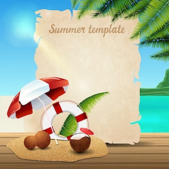 Modelo de banner de verão em forma de pergaminho
