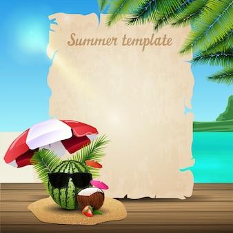 Modelo de banner de verão sob a forma de pergaminho no fundo de uma bela paisagem