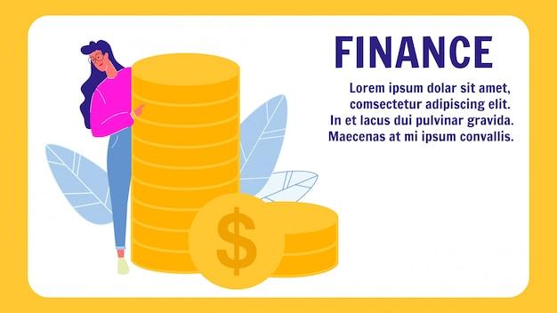 Modelo de banner de vetor de finanças com espaço de texto
