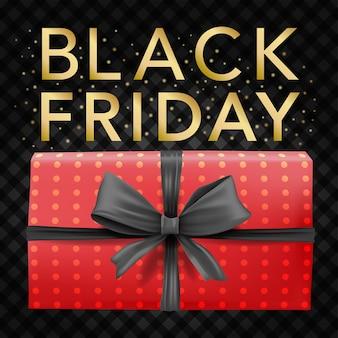 Modelo de banner de vetor de fitas pretas e caixa de polkadot vermelha com etiquetas de venda de sexta-feira preta