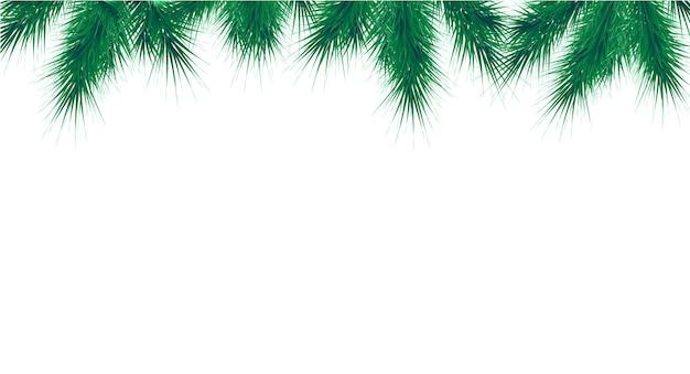 Modelo de banner de vetor de natal e ano novo cartão de felicitações de fronteira de galhos de árvore do abeto
