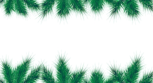 Modelo de banner de vetor de natal e ano novo fronteira de galhos de árvore de abeto com decoração de inverno
