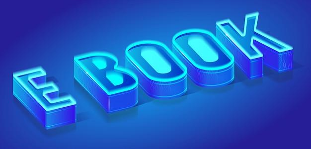 Modelo de banner de vetor de projeção isométrica de e-book