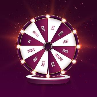 Modelo de banner de vetor de roda da fortuna girando em cassino