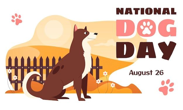Modelo de banner de vetor horizontal do dia nacional do cachorro com um cachorro alegre sentado perto de uma cerca viva.