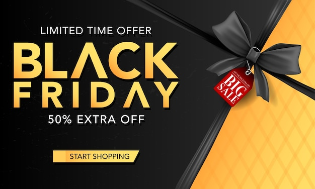 Modelo de banner de vetor sexta-feira negra com fitas pretas, cartaz de sexta-feira negra