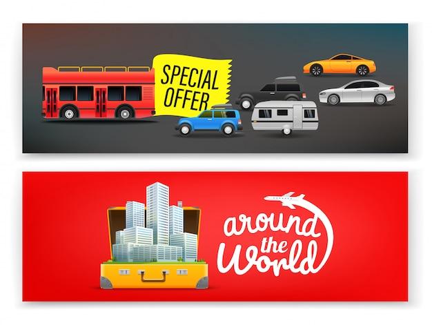 Modelo de banner de viagens, banner de publicidade
