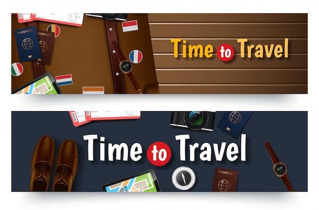 Modelo de banner de viagens viagens, banner de negócios de publicidade horizontal