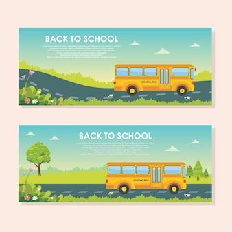 Modelo de banner de volta à escola, ônibus escolar a caminho com cenário paisagem natural Vetor Premium