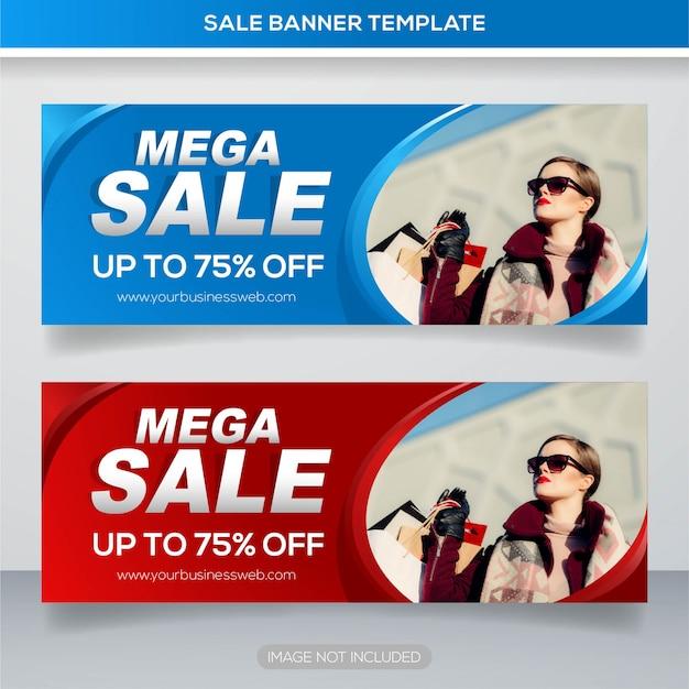 Modelo de banner de web de venda de moda