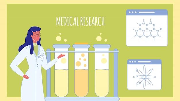 Modelo de banner de web plana de pesquisa médica