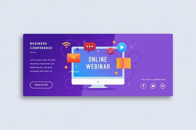 Modelo de banner de webinar digital ilustrado