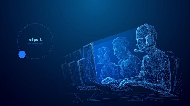 Modelo de banner de wireframe poli baixa cybersport. competição de esports, design poligonal de cartaz do campeonato de jogos on-line com espaço de texto. jogadores profissionais da equipe de arte em malha 3d com pontos conectados