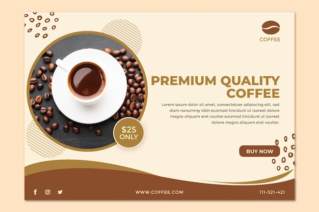 Modelo de banner de xícara de café e grãos