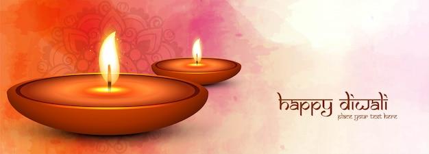 Modelo de banner decorativo feliz diwali diya