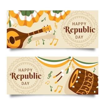 Modelo de banner desenhado à mão para o dia da república indiana
