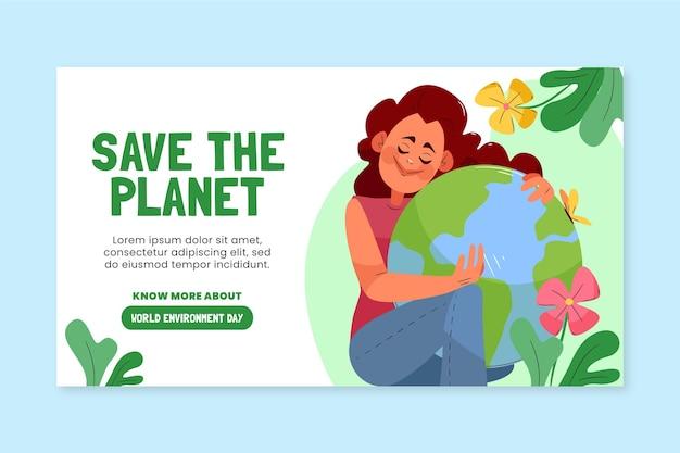 Modelo de banner desenhado à mão para o dia do meio ambiente mundial