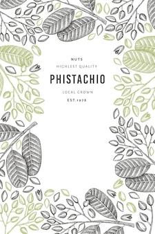 Modelo de banner desenhado à mão para ramos e grãos de phistachio