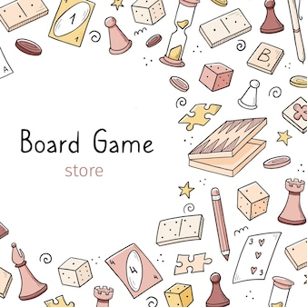 Modelo de banner desenhado de mão com elemento de jogo de tabuleiro. estilo de desenho do doodle.