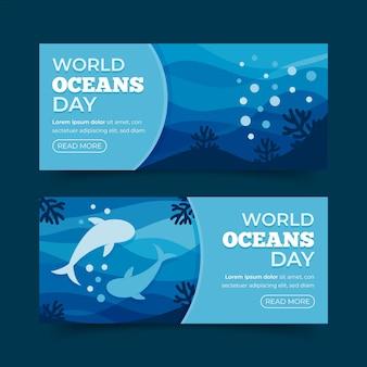 Modelo de banner design plano mundo oceanos dia