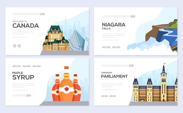 Modelo de banner do canadá, conceito de turismo