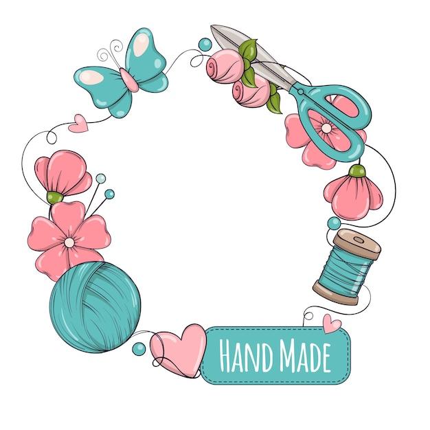 Modelo de banner do círculo para feito à mão, tricô, costura. quadro com atributos de costura e tricô em estilo doodle.