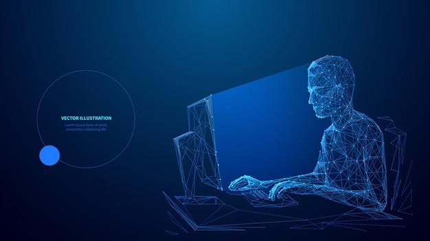 Modelo de banner do computador tecnologia baixa poli wireframe. desenvolvimento de software, design poligonal de cartaz freelance com espaço de texto. pessoa que trabalha com pc de mesa 3d arte em malha com pontos conectados