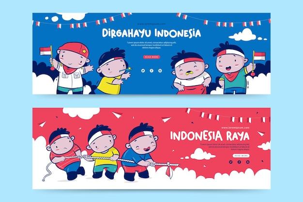 Modelo de banner do dia da independência da indonésia com ilustração de desenho animado dirgahayu significa celebração raya significa grande