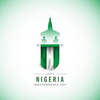 Modelo de banner do dia da independência da nigéria em design plano