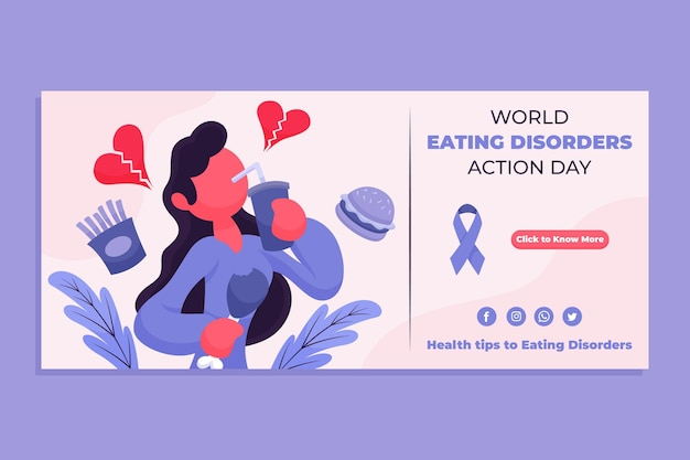 Modelo de banner do dia de ação para transtornos alimentares do mundo dos desenhos animados