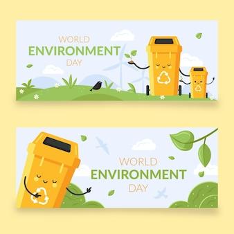 Modelo de banner do dia do ambiente do mundo plano