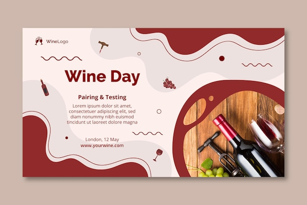 Modelo de banner do dia do vinho