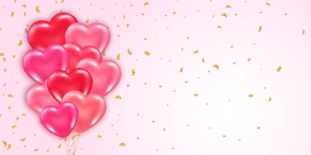 Modelo de banner do dia dos namorados com elemento decorativo de balões brilhantes de coração 3d e confetes