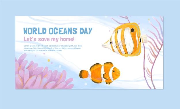 Modelo de banner do dia dos oceanos do mundo pintado à mão em aquarela